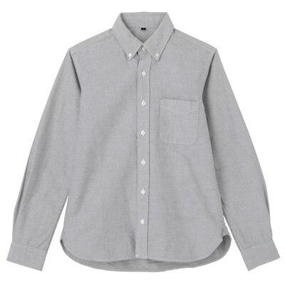 オーガニックコットン洗いざらしオックスボタンダウンシャツ 紳士XS・黒