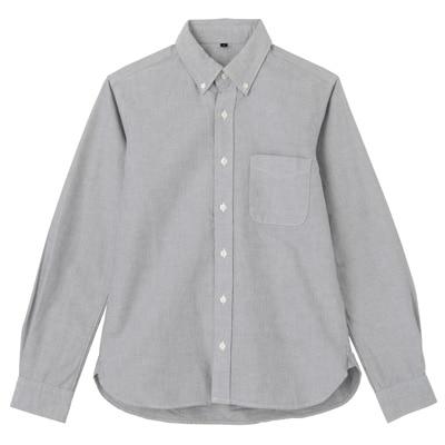 オーガニックコットン洗いざらしオックスボタンダウンシャツ 紳士S・黒