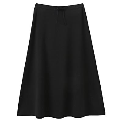 綿レーヨンストレッチロングスカート 婦人M・黒