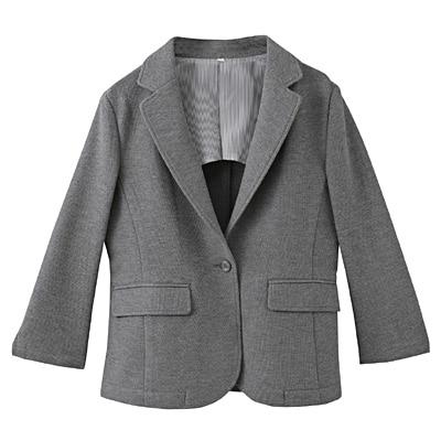 ジャージー鹿の子七分袖ジャケット 婦人S・グレー
