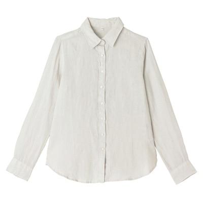 フレンチリネン長袖シャツ 婦人XL・グレー