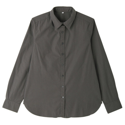 オーガニックコットン洗いざらしブロードシャツ 婦人XS・ダークグレー