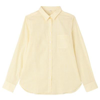 オーガニックコットンギンガムシャツ 婦人XL・ライトイエロー
