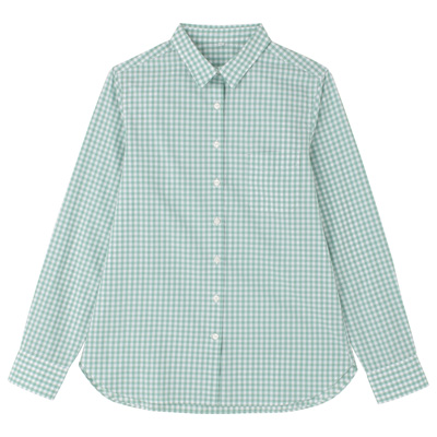 オーガニックコットンギンガムシャツ 婦人XL・グリーン