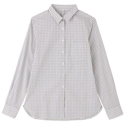 オーガニックコットンギンガムシャツ 婦人XL・グレー