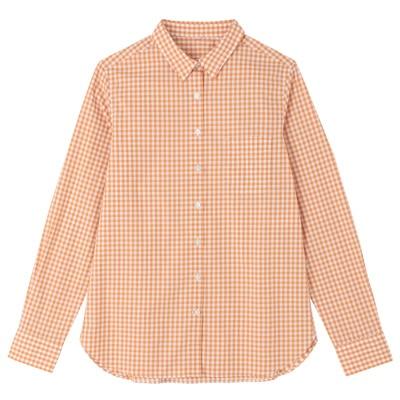 オーガニックコットンギンガムシャツ 婦人L・オレンジ