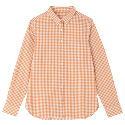 オーガニックコットンギンガムシャツ 婦人XL・オレンジ