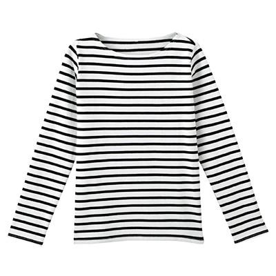オーガニックコットン太番手ボーダー長袖Tシャツ 婦人S・白×黒
