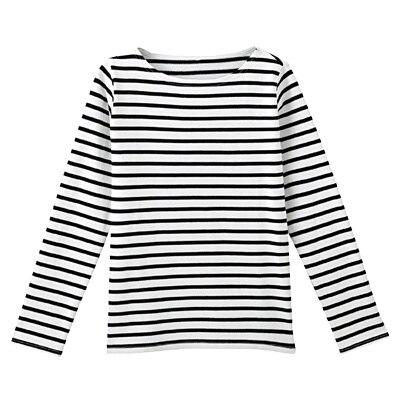 オーガニックコットン太番手ボーダー長袖Tシャツ 婦人L・白×黒