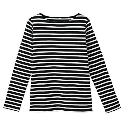 オーガニックコットン太番手ボーダー長袖Tシャツ 婦人S・黒×白