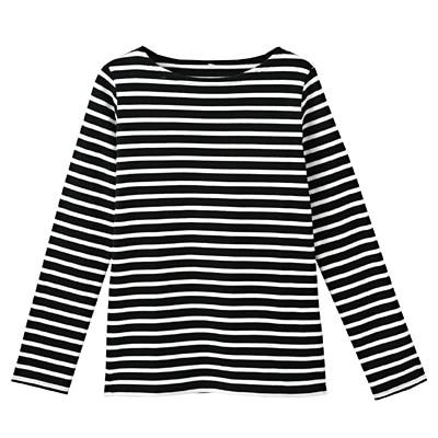 オーガニックコットン太番手ボーダー長袖Tシャツ 婦人L・黒×白