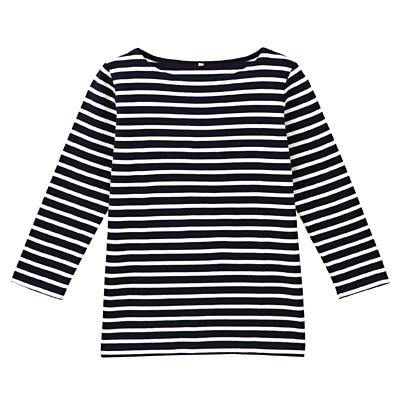 オーガニックコットンボーダー七分袖Tシャツ 婦人S・ネイビー×白