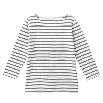 オーガニックコットンボーダー七分袖Tシャツ 婦人S・白×ミディアムグレー