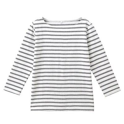 オーガニックコットンボーダー七分袖Tシャツ 婦人M・白×ミディアムグレー