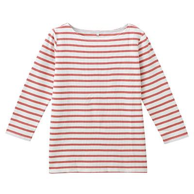 オーガニックコットンボーダー七分袖Tシャツ 婦人L・白×ライトオレンジ