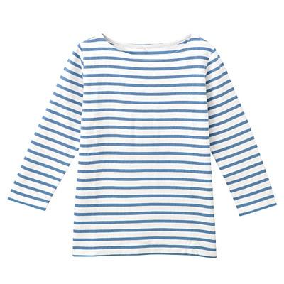 オーガニックコットンボーダー七分袖Tシャツ 婦人S・白×ブルー