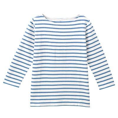 オーガニックコットンボーダー七分袖Tシャツ 婦人M・白×ブルー