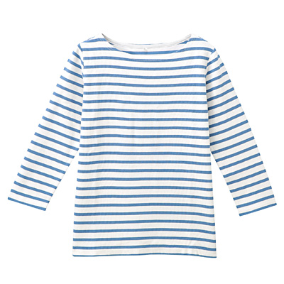 オーガニックコットンボーダー七分袖Tシャツ 婦人L・白×ブルー