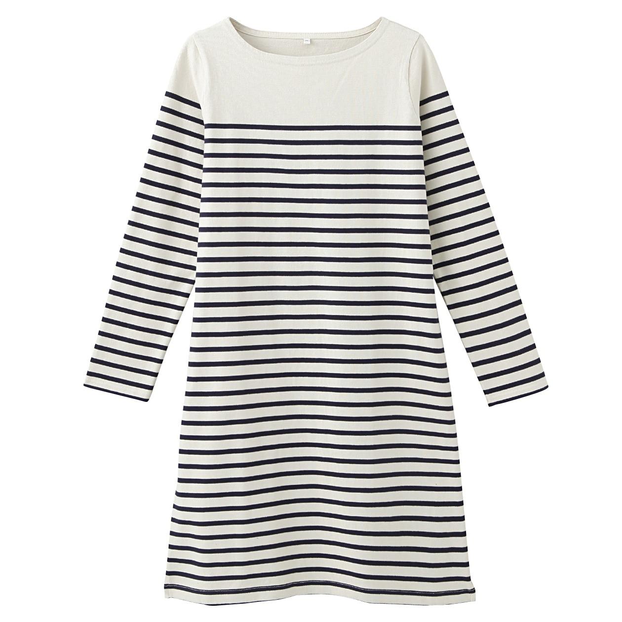 muji stripe striped organic cotton t shirt dress tunic. Black Bedroom Furniture Sets. Home Design Ideas