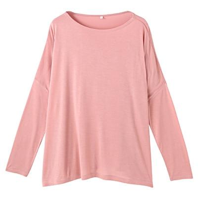 モダールドロップショルダーTシャツ 婦人M・サーモンピンク