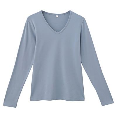オーガニックコットンストレッチVネック長袖Tシャツ 婦人XS・アクアブルー