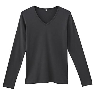オーガニックコットンストレッチVネック長袖Tシャツ 婦人XL・チャコールグレー