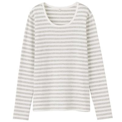 オーガニックコットンストレッチクルーネック長袖Tシャツ(ボーダー) 婦人・XS・オフ白×杢ライトグレー