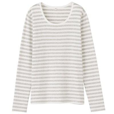 オーガニックコットンストレッチクルーネック長袖Tシャツ(ボーダー) 婦人・L・オフ白×杢ライトグレー