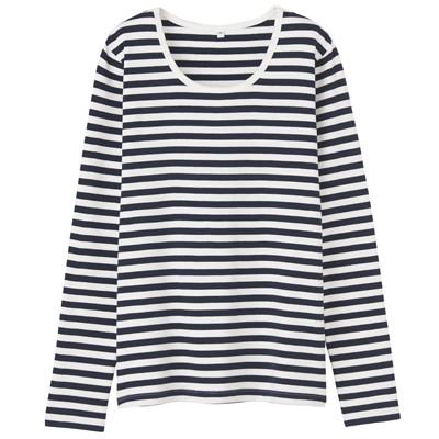 オーガニックコットンストレッチクルーネック長袖Tシャツ(ボーダー) 婦人・XS・紺×オフ白
