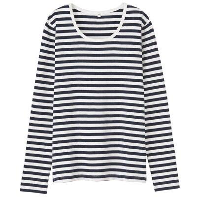 オーガニックコットンストレッチクルーネック長袖Tシャツ(ボーダー) 婦人・M・紺×オフ白