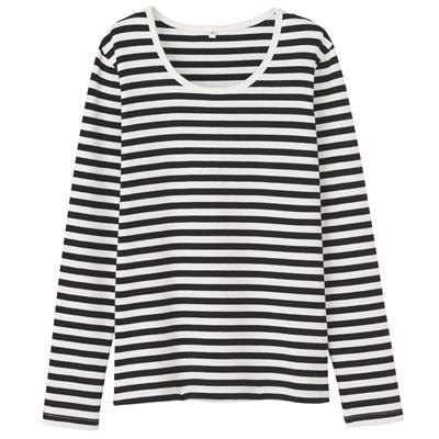 オーガニックコットンストレッチクルーネック長袖Tシャツ(ボーダー) 婦人・XS・オフ白×黒
