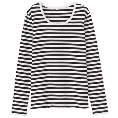 オーガニックコットンストレッチクルーネック長袖Tシャツ(ボーダー) 婦人・S・オフ白×黒