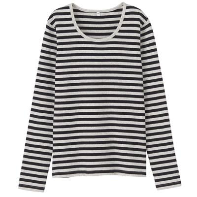 オーガニックコットンストレッチクルーネック長袖Tシャツ(ボーダー) 婦人・M・杢ライトグレー×黒
