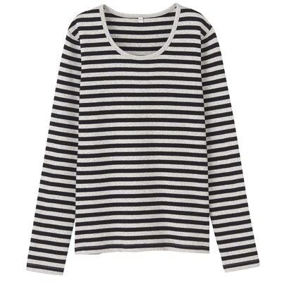 オーガニックコットンストレッチクルーネック長袖Tシャツ(ボーダー) 婦人・L・杢ライトグレー×黒
