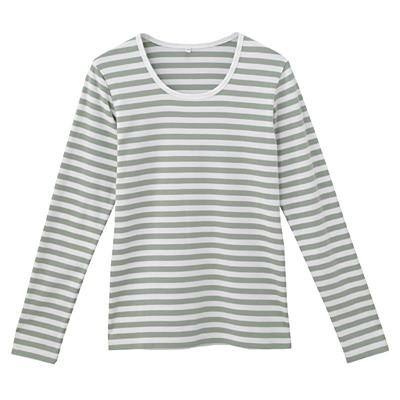 オーガニックコットンストレッチクルーネック長袖Tシャツ(ボーダー) 婦人XS・白×リーフグリーン