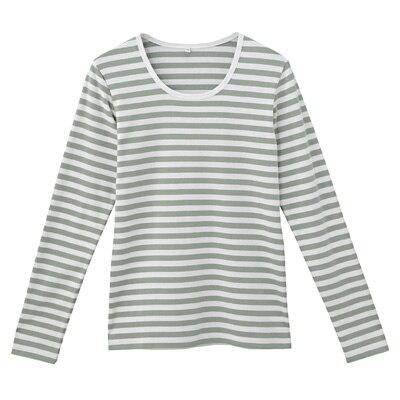 オーガニックコットンストレッチクルーネック長袖Tシャツ(ボーダー) 婦人M・白×リーフグリーン