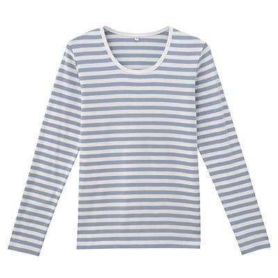オーガニックコットンストレッチクルーネック長袖Tシャツ(ボーダー) 婦人XS・白×アクアブルー