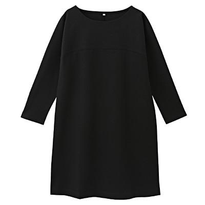綿混ポンチドルマンワンピース 婦人L・黒