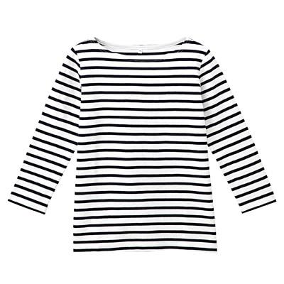 オーガニックコットンボーダー七分袖Tシャツ 婦人S・白×ネイビー