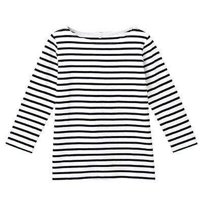 オーガニックコットンボーダー七分袖Tシャツ 婦人L・白×ネイビー