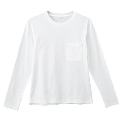 オーガニックコットン天竺クルーネック長袖Tシャツ 紳士S・オフ白
