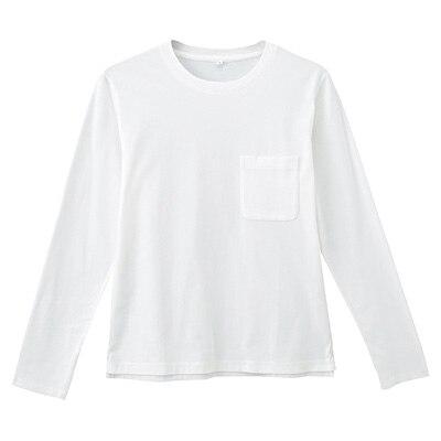 オーガニックコットン天竺クルーネック長袖Tシャツ 紳士M・オフ白