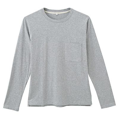オーガニックコットン天竺クルーネック長袖Tシャツ 紳士S・グレー