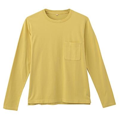オーガニックコットン天竺クルーネック長袖Tシャツ 紳士M・イエロー