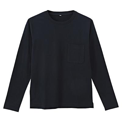 オーガニックコットン天竺クルーネック長袖Tシャツ 紳士L・ネイビー