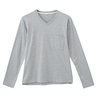 オーガニックコットン天竺Vネック長袖Tシャツ 紳士S・グレー