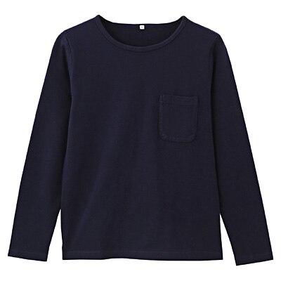 オーガニックコットン天竺ボートネックTシャツ 紳士L・ダークネイビー