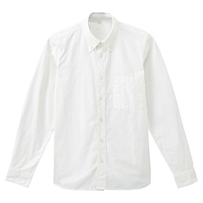 オーガニックコットンオックスフォードボタンダウンシャツ 紳士S・オフ白