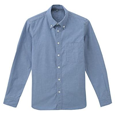 オーガニックコットンオックスフォードボタンダウンシャツ 紳士L・アクアブルー