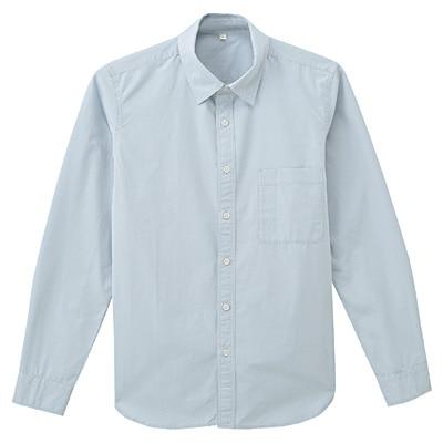 オーガニックコットンブロードシャツ 紳士L・ベビーブルー